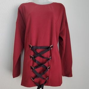 Very J Long sleeve w/front lace up corset ties